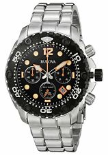 Bulova Men's 98B244 Sea King Chrongoraph Black Dial Stainless Steel Watch