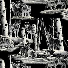 Grey Wolves Wolf Night Wildlife Nature Fleece Fabric Print by the yard D245.02