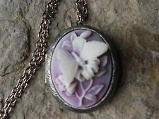 BUTTERFLY (WHITE ON PURPLE) ANTIQUED SILVER PLATED LOCKET - WEDDING, BRIDAL