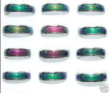6mm Mood Ring Lots Wholesale 50pcs Color Changable Mix size 6-9 Stainless Steel