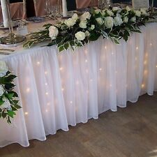 STARLIT LED white wedding top table skirt pleated drape 6m