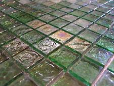 Glasmosaik Mosaik Fliesen Klarglas Perlmutt Metall grün 8mm dusche bad küche TOP