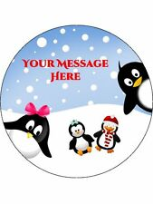 "Personalised Winter Penguins Christmas 7.5"" Edible Wafer Paper Cake Topper"