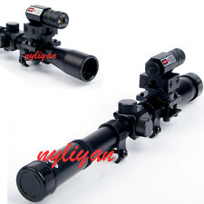 Set 4x20 Air Gun Optics Scope+ Red Laser Sight+ Barrel Adapter For Rifle Hunting