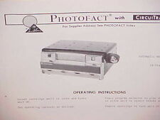 1967-1970 AUTOMATIC 8-TRACK TAPE PLAYER SERVICE MANUAL GES-6394-PAK T 8111-1