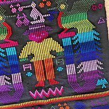 """HAND WOVEN TABLE RUNNER TAPESTRY BY INDIAN WOMEN SW GUATAMALA  59"""" X 18"""" STORY"""