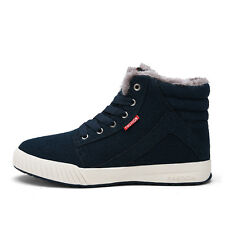 New Men's Winter Casual Suede Ankle Boots Snow Shoes Lace Up black/blue/green