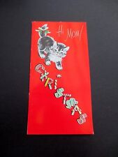 #K713- Vintage Unused Xmas Greeting Card Sweet Cat with Holiday Candy Canes