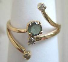 14 carat 585 Gold ring. Lab Created Alexandrite & Natural Diamond Size P US 71/2
