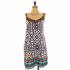 ZOE & ROSE BAND OF GYPSIES JUNIORS CROCHET BORDER SWING DRESS TRIBAL PRINT M B45