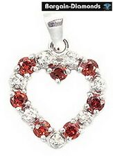 Color Change Garnet + Diamonds 14K Heart Pendant red