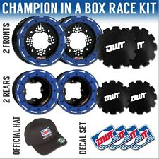 "DWT Blue MX Champion in a Box 10"" Front 9"" Rear Rims Beadlock Rings Raptor 350"