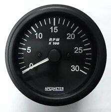 Tachometer 0-3000 RPM Alternator Signal Gauge Black Bezel +12V