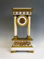 *STUNNING* ANTIQUE FRENCH EMPIRE WHITE MARBLE PORTICO CLOCK, H&H MOVEMENT