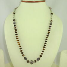 NATURAL FINE TIGER EYE GEMSTONE  BEADED  NECKLACE 23.4 GRAMS