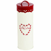 Red & Cream 27cm Tall Pasta Spaghetti Canister Enamel Kitchen Storage Jar Tin
