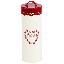 ROSSO & Cream 27 cm Tall PASTA SPAGHETTI BOMBOLETTA SMALTO Kitchen Storage Jar Tin