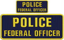 """POLICE FEDERAL OFFICER 4 X 10"""" and 2x5 hook navy background gold letters"""