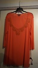 From The Heart Nwt $99 Xl Deep Scoopneck Coral Chiffon Feel Blouse 3/4 Sleeve