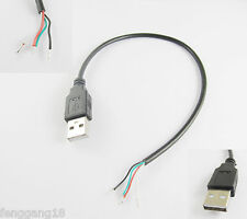 USB 2.0 A Type Male Plug 4 Pin 4 Wire Data Charge Cable Cord Connectors DIY 30cm