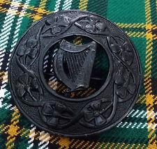 """Men's Highland Fly Plaid Brooch Irish Harp Black 3""""/Celtic Harp Brooch For Kilts"""