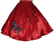 "Red SATIN 50s Poodle Skirt _ Adult Size MEDIUM _ Waist 30""- 37"" _ Length 25"""