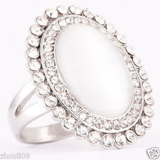 size 5.5 925 Silver Gold Filled cat's eye 6ct wedding engagement Ring  2193