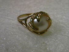 Gold tone Wrapped Faux Pearl Ring, signed L.S. (Lia Sophia?), size 10.25 (Goth)