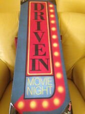 RARE Retro LED Lighted Flickering Canvas Wall Art DRIVE IN Home Theater Rec Room