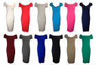 NEW LADIES OFF THE SHOULDER JERSEY CAP SLEEVE MIDI DRESS SIZE 8-18