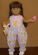 "CUSTOM MADE EASTER ROMPER W/ BUNNY & BABY CHICK FOR 18""  DOLL"