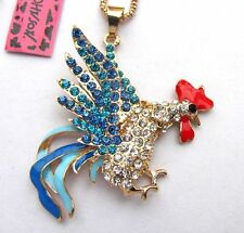Betsey Johnson blue crystal  enamel Pretty cockfighting pendant Necklace#338L