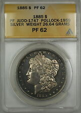 1885 Proof Morgan Silver $1 Dollar Pattern Coin J-1747 ANACS PF-62 (Better) WW