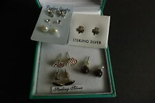 Job lot of 7 pairs of various styled stud earrings. Very Good Condition