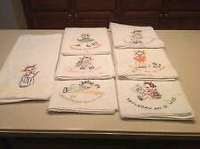 Vintage Embroidered Dish Towels Days of The Week MAMMY Women Lady COMPLETE NICE
