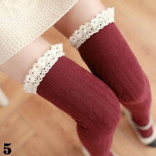 Women Girls Lace Top Over Knee Knit Thigh-High Stockings Tights Socks Hold-ups