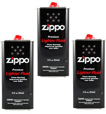 3 Cans Zippo Premium Lighter Fluid 12 fl oz. (355ml) For Zippo Lighters