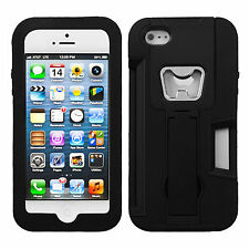 For Apple iPhone 5 5S SE KICKSTAND Case Bottle Opener Card Holder Black