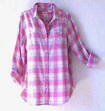 NEW~LEVI'S~Coral Pink Blue Beige & White Plaid Boyfriend Shirt Top~12/14/L/Large