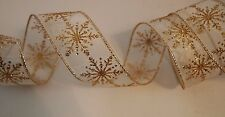 "5 Yards Sheer Gold Glitter Snowflake 1 1/2"" Wired Ribbon Christmas Holiday 5 yd"