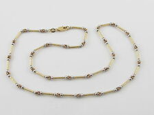 """18K Yellow White And Rose Gold Ball Tube Style Chain Necklace 18""""  10 grams"""