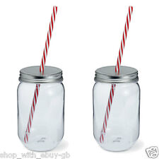 PACK OF 2 - 600ML Plastic MASON JAR & STRAW - Wedding Party TUMBLER SMOOTHIE Cup