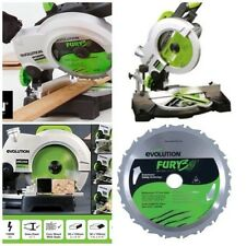 EVOLUTION COMPOUND MITRE SAW 1100 WATT 210MM FURY3-B COMPLETE KIT+TCT BLADE
