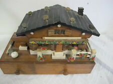 VINTAGE WOOD CABIN CHALET MUSIC JEWELRY TRINKET BOX MUSICAL