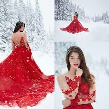 2016 Red Sexy Backless Wedding Dress Bridal Ball Gown Custom 2 4 6 8 10 12 14+++