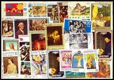 Paintings on Stamps-100 Different Large World Wide Thematic used Stamps