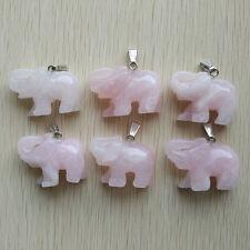 Fashion natural rose quartz stone Carved elephants Pendants 6pcs/lot Wholesale