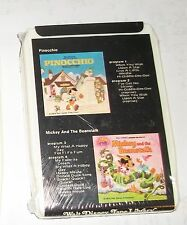 1974 Walt Disney Tape Library Pinocchio/Mickey and the Beanstalk 8-Track Sealed