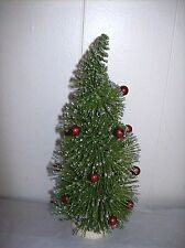 "8"" Long Needle, Bottle Brush Tree with Red Balls & Silver Glitter - Bethany Lowe"