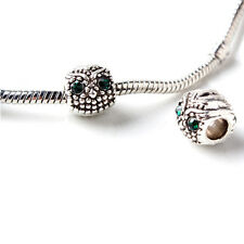 Antique Silver Color Owl Beads Green Crystal Eye Beads Jewelry Making Kits 1PC